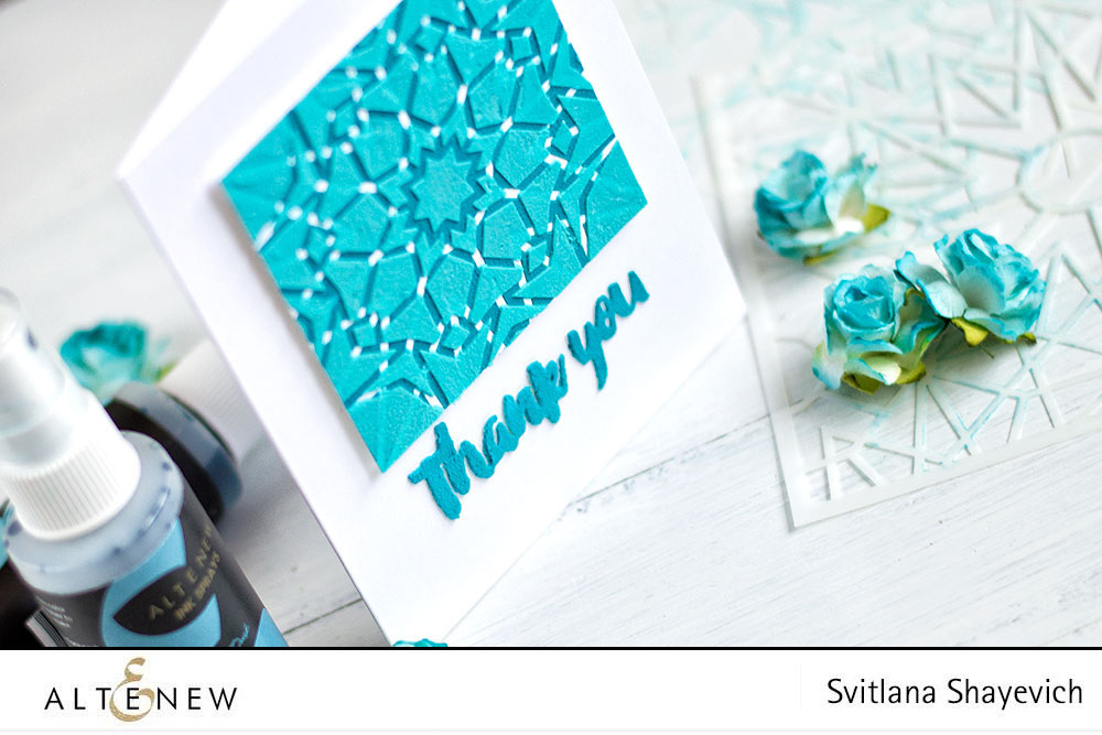 Altenew Kaleidoscope stencils and embossing paste colored with Sprays. Cards by @craftwalks