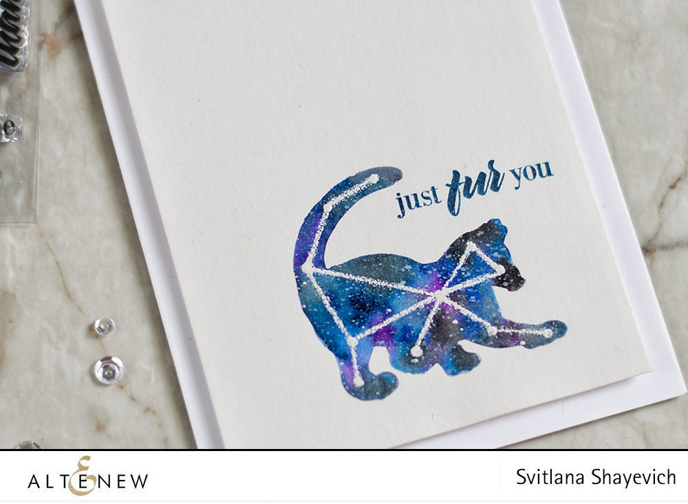 Altenew Modern Cats Die Set. Galaxy Cat Constellation. Card by @craftwalks