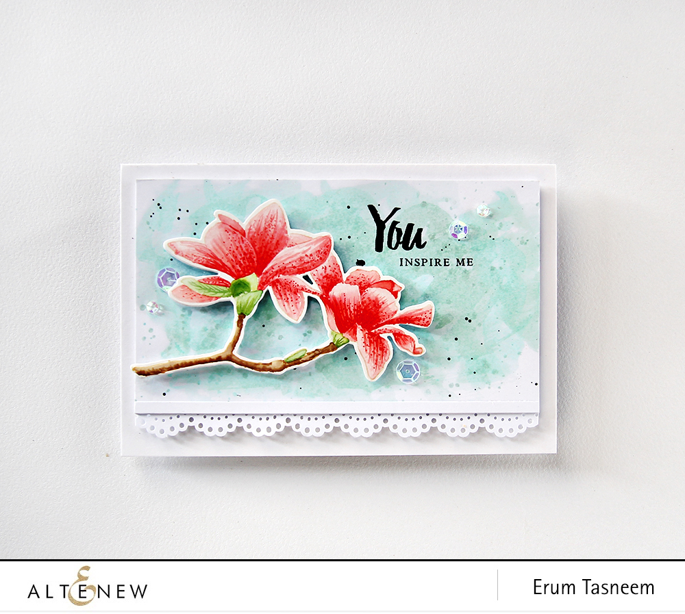 Eight different looks and colouring techniques featuring Altenew Build-A-Flower Magnolia by Erum Tasneem - @pr0digy0 This features the no-line water colouring technique