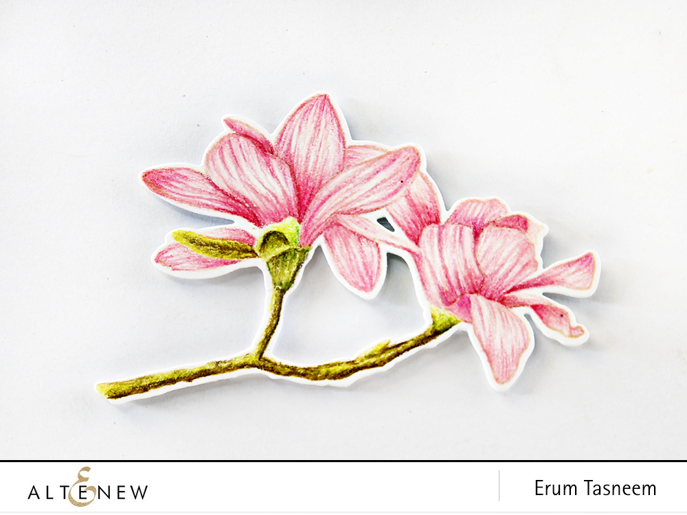 Eight different looks and colouring techniques featuring Altenew Build-A-Flower Magnolia by Erum Tasneem - @pr0digy0 This features the no-line pencil colouring technique