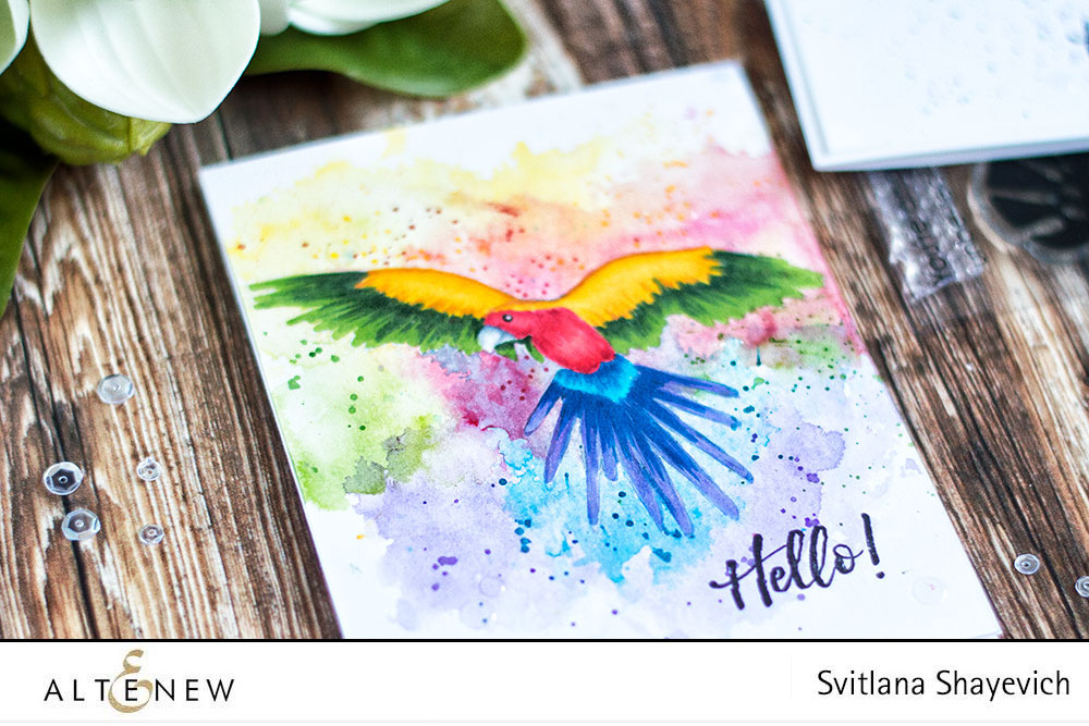 Altenew Parrot Paradise. Colorful card with ink smooshing background. By @craftwalks