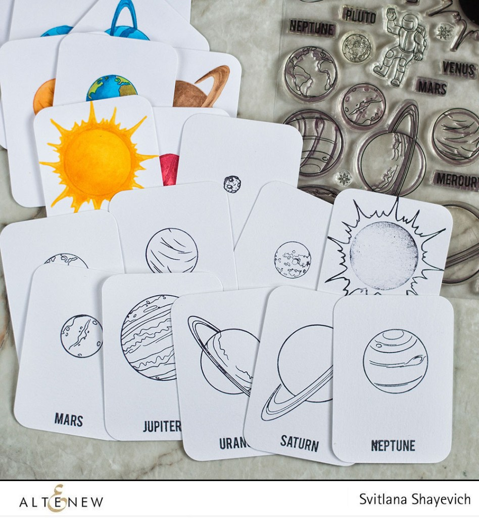 Solar System Flash cards using Altenew Space Travel Stamp Set. Project by @craftwalks