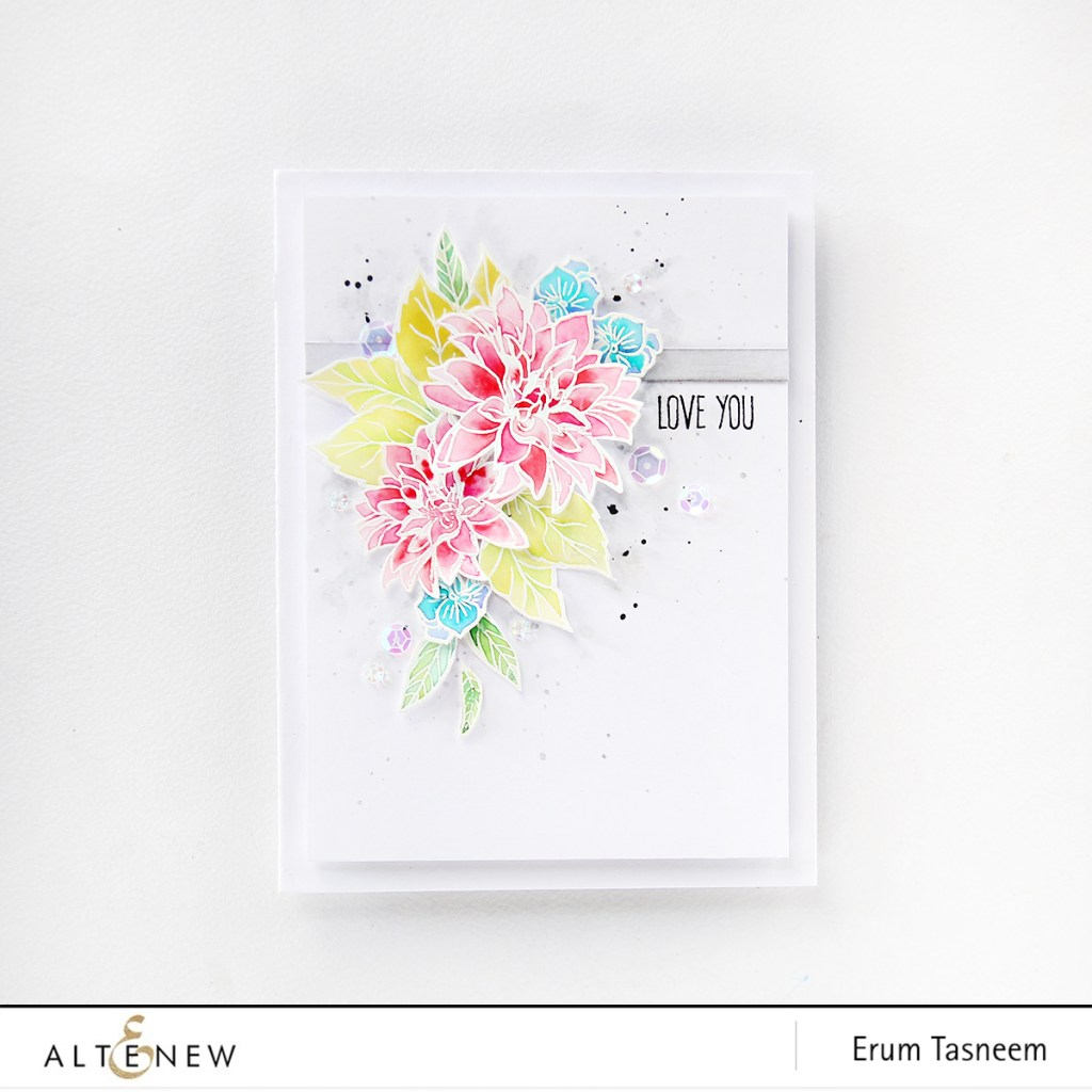 Altenew Blooming Bouquet and Heartfelt Sentiments Stamp Set. Watercoloured card by Erum Tasneem @pr0digy0