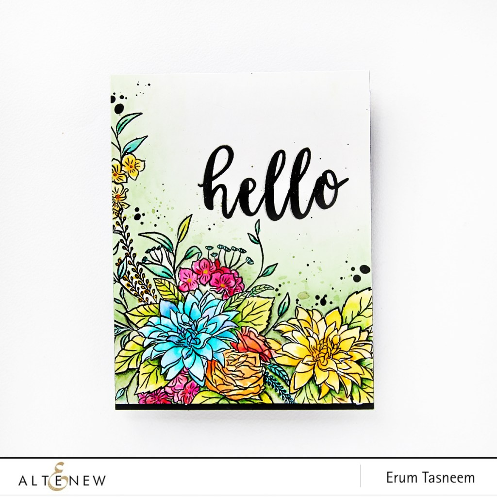 Altenew Blooming Bouquet Stamp Set. Watercoloured card by Erum Tasneem @pr0digy0