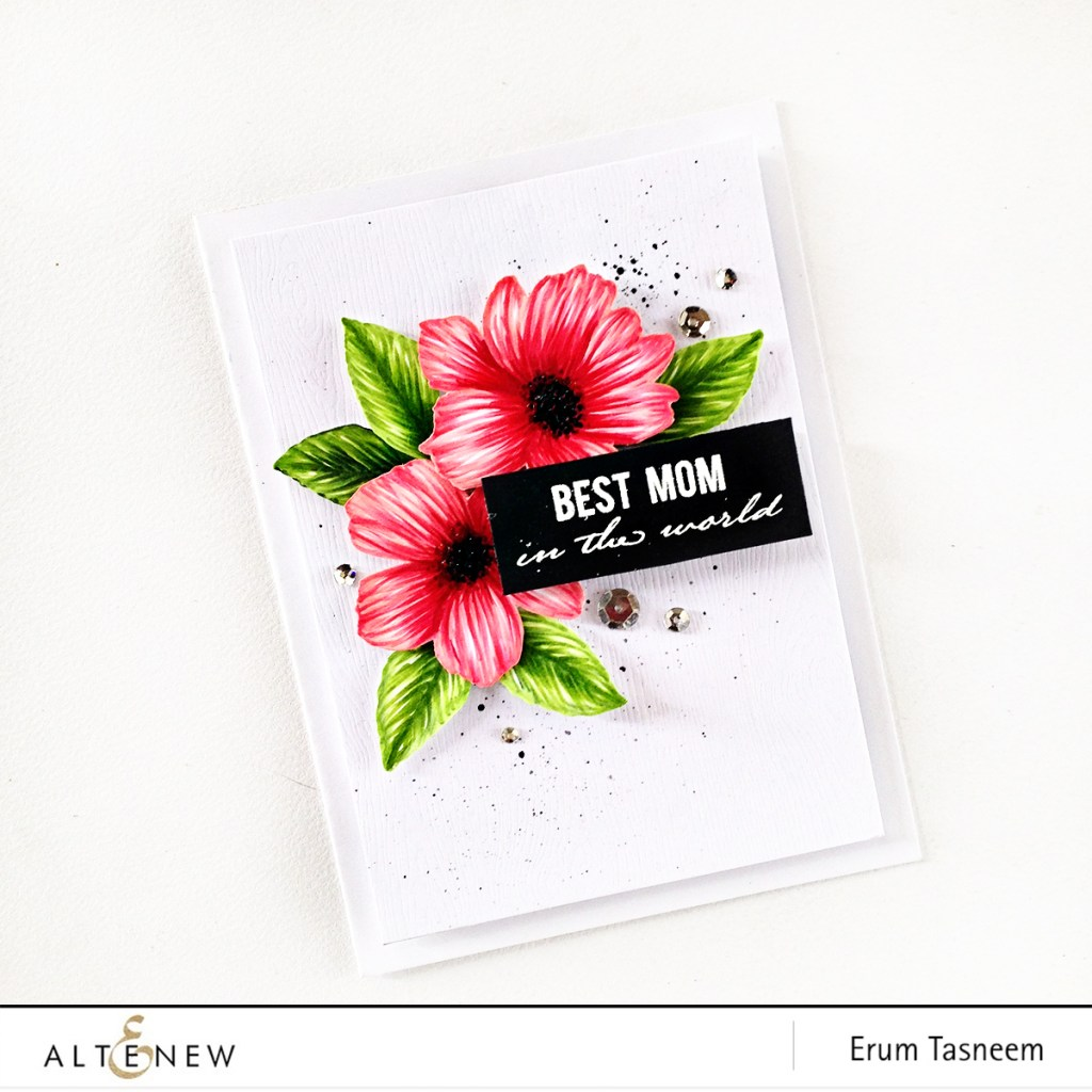 Altenew Wild Hibiscus stamp set coloured with Artist Markers by Erum Tasneem - @pr0digy0