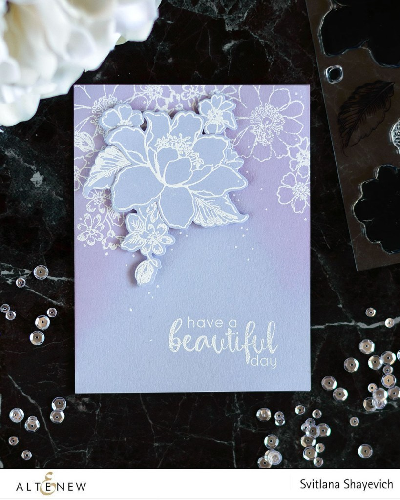 Create a cool monochromatic card using heat embossing and a few added supplies. With Altenew. Card by @craftwalks