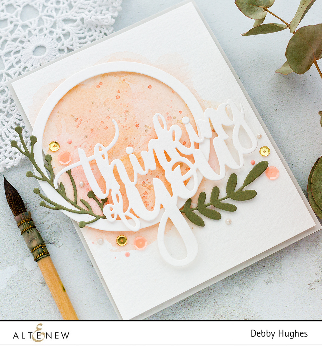 Simple die cut wreath handmade card by Debby Hughes using the Altenew Create A Wreath die set. Find out more here: http://altenewblog.com/2018/01/21/simple-die-cut-wreath-with-debby-hughes/