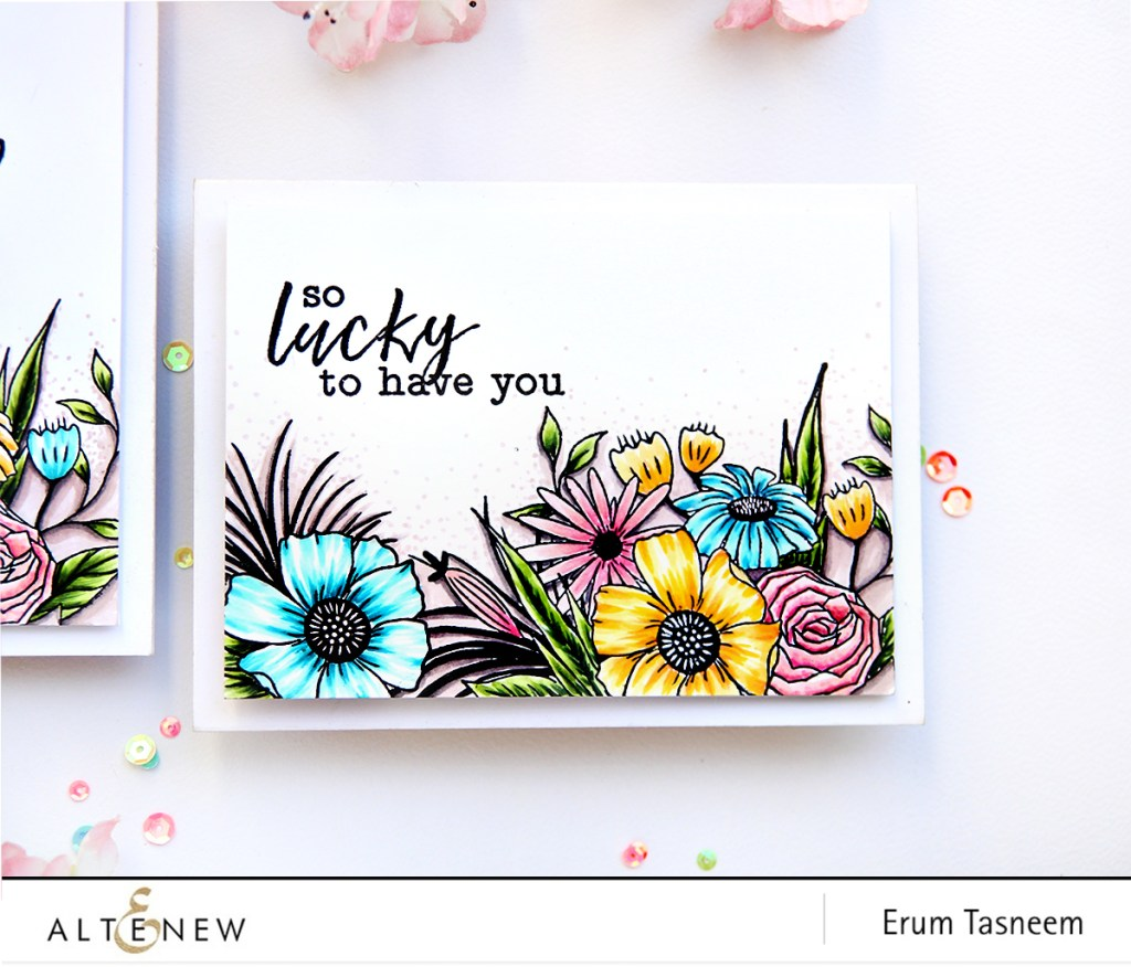 Altenew Happy Bloom Stamp Set colored with Artist Markers | Erum Tasneem | @pr0digy0 | @altenew