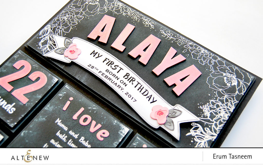 Chalkboard Wall Art using Altenew Stamps and Dies | Beautiful Day | Remember This | Just Because | Rose Flurries 3D Die Set | Simple Alphas Die Set | Bold Numerals Die Set | Caps Bold Alphas Die Set | Erum Tasneem | @pr0digy0