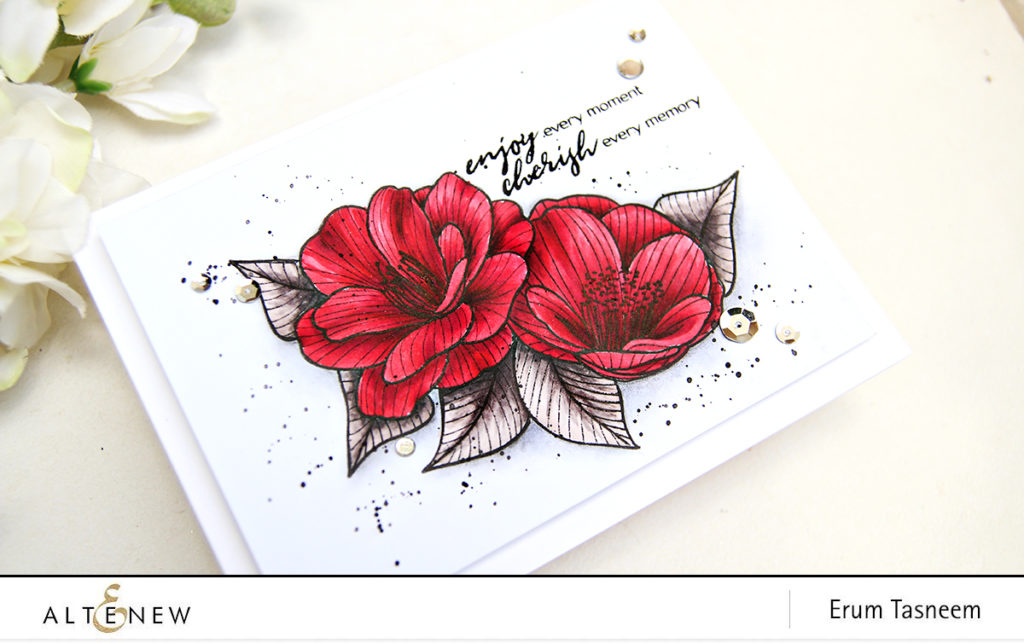 One layer card with Altenew Cherished Memories Stamp Set | Artist Markers | Erum Tasneem | @pr0digy0