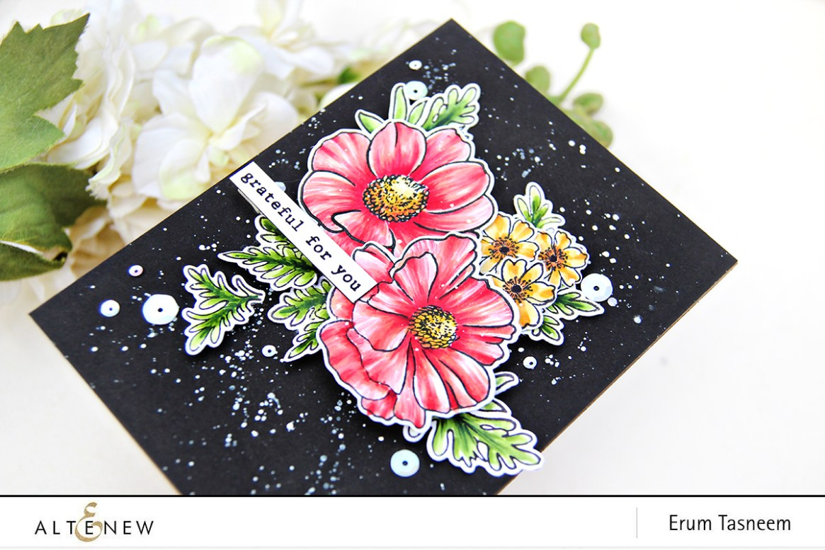 Altenew Build-A-Flower: Anemone Coronaria + Garden Treasure colored with Artist Markers | Erum Tasneem | @pr0digy0