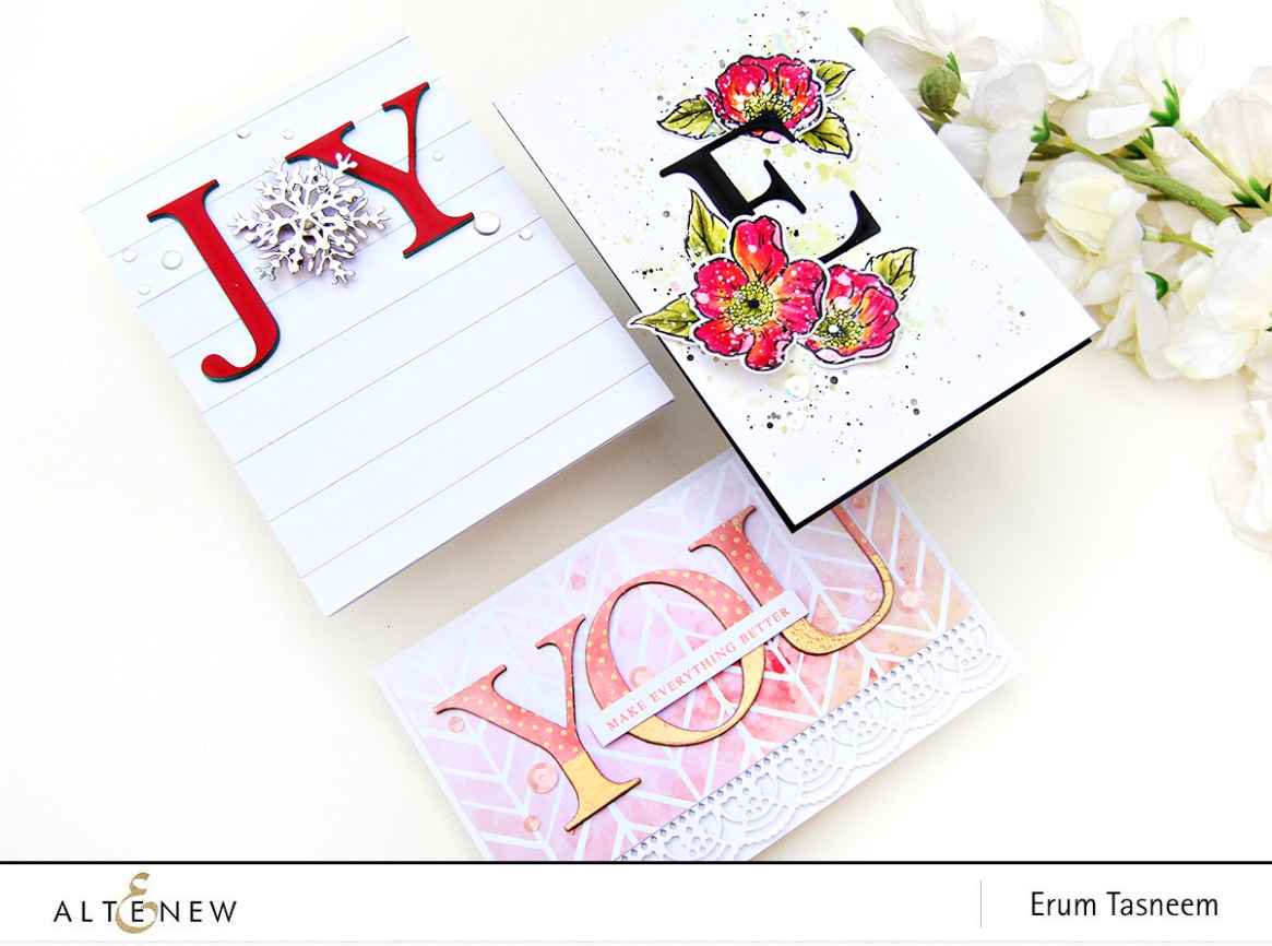 Altenew Classic Alphabet Die Set + Always There Stamp Set+ Layered Snowflake Dies | Erum Tasneem | @pr0digy0