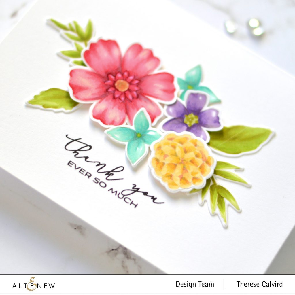 No-Line Coloring - Floral Bouquet Card - Altenew - Wild & Free - Apothecary Labels - Watercolor Dots - Take 2 With Therese 1