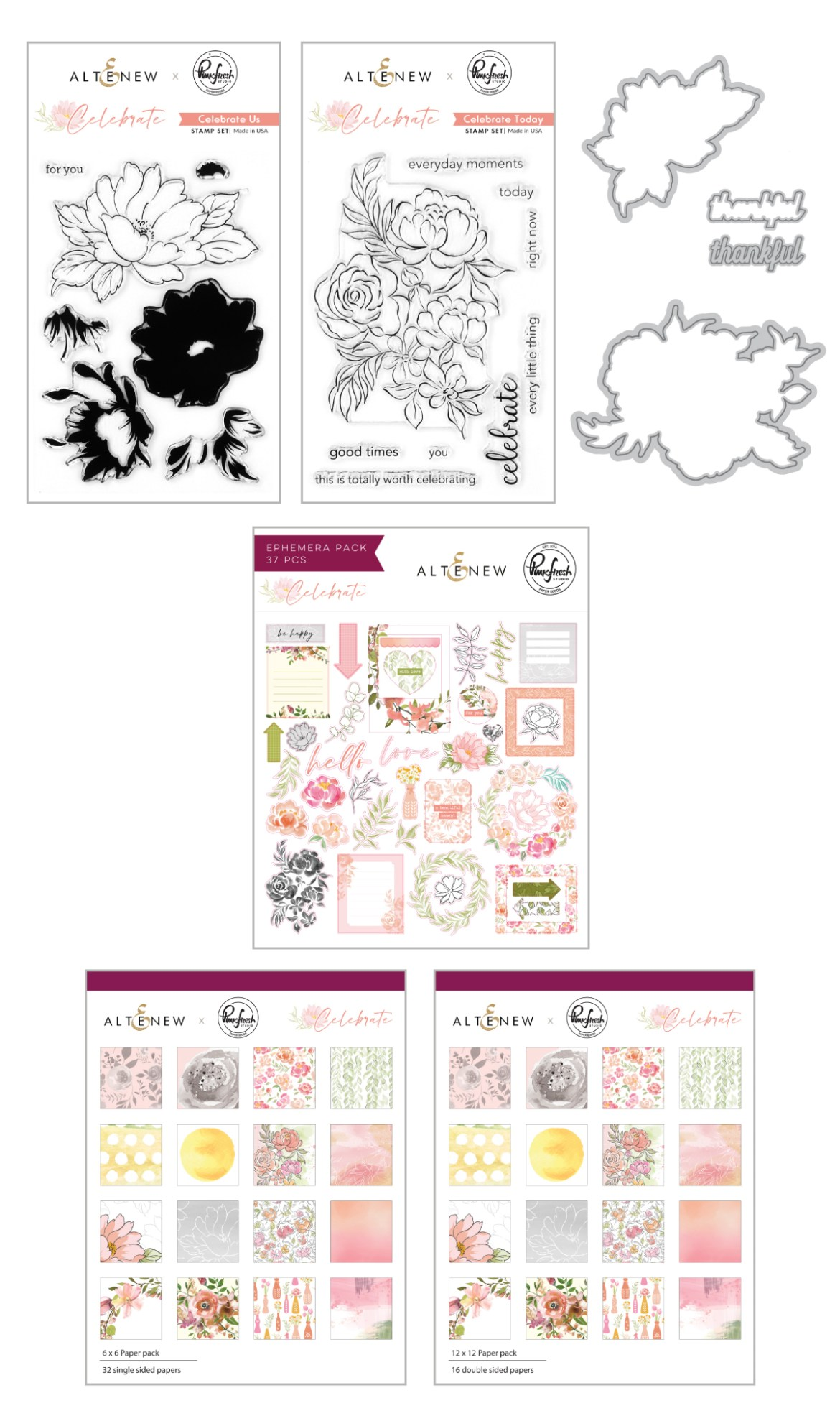 Image of all the products in Celebrate release by Altenew and Pinkfresh Studio. Includes 2 stamp sets, dies, paper packs, and ephemera