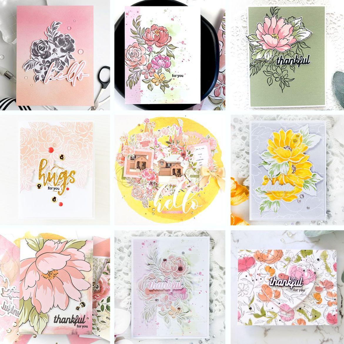 Collage of projects from Altenew x Pinkfresh Studio Collaboration Blog Hop