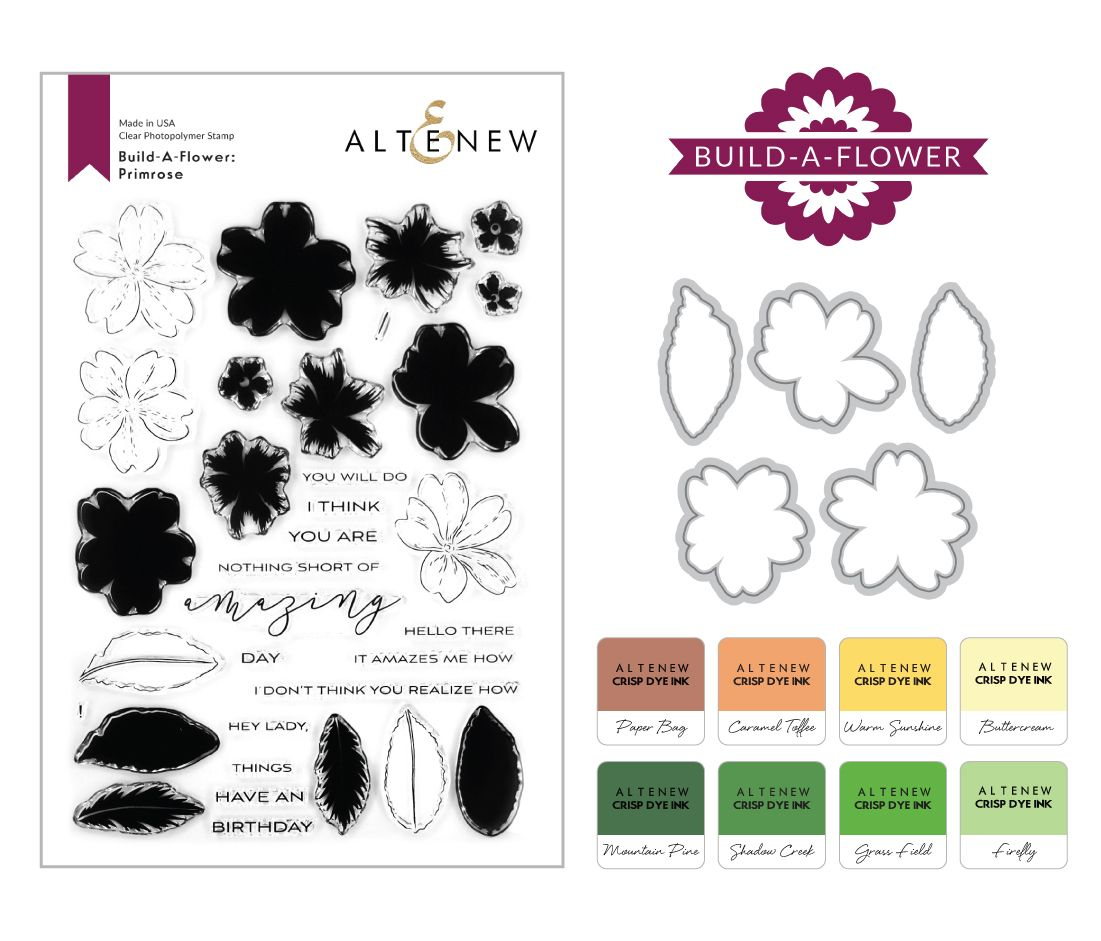 Altenew Build-A-Flower: Stamp Set, Dies, and Coordinating Inks Product Images with Build-A-Flower Logo