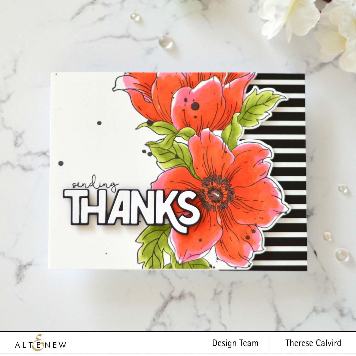 Altenew - Statement Flowers - Bold Thanks Die - Hello and Hugs - Take 2 With Therese (card video) 1