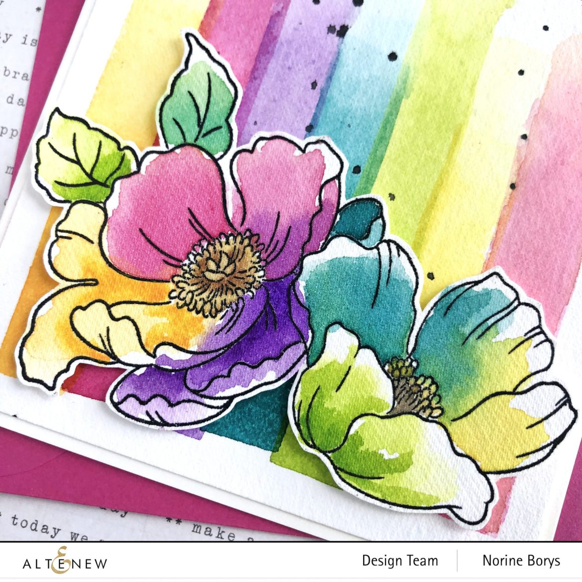 close-up image of unique watercolor handmade floral card