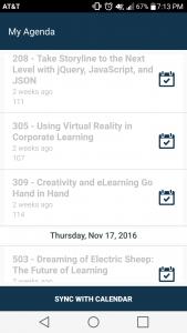 Screenshot of My Agenda from DevLearn 2016 app
