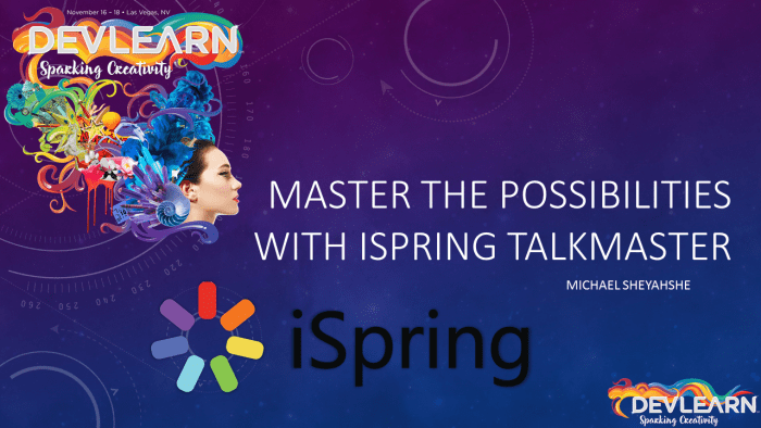 iSpring TalkMaster session title slide at DevLearn 2016