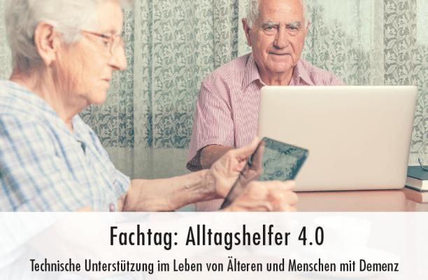 Das Bild zeigt einen älteren Herrn an einem Laptop und eine ältere Dame mit Tablet. Beide sitzen vor einer Gardine am Tisch.