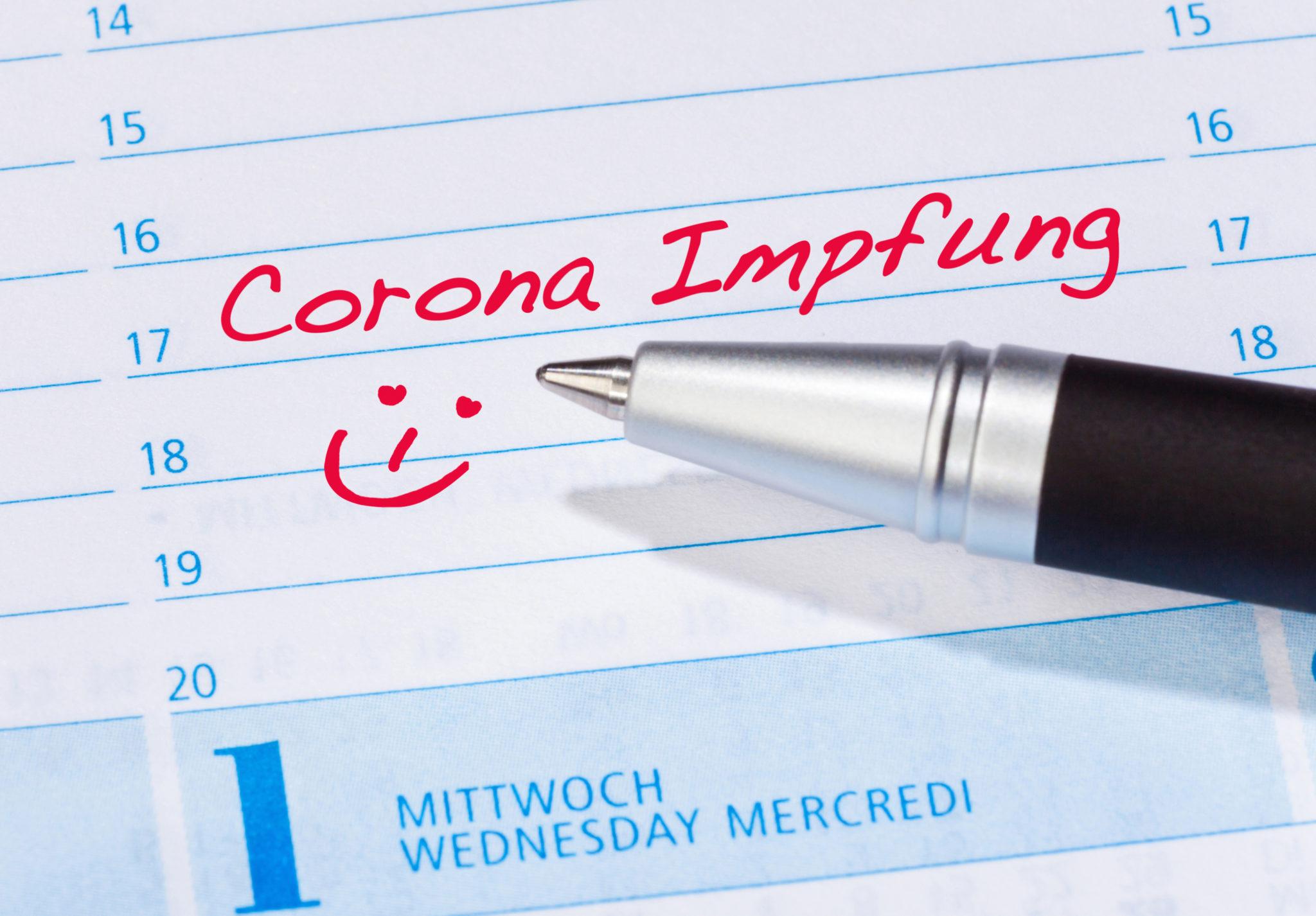Corona-Impfung vermerkt im Terminkalender