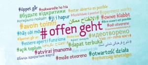 Symbolbild der Interkulturellen Woche: In einer Wortwolke ist #OffenGeht in vielen verschiedenen Sprachen abgebildet