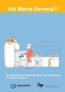Titelbild der Broschüre. Eine Zeichnung einer alten Dame, die Schuhe in den Kühöschrank räumt.