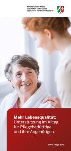 Titelbild des Flyers. Zu sehen sind zwei Frauen. Eine Seniorin und eine junge Frau, beide lächeln sich an.