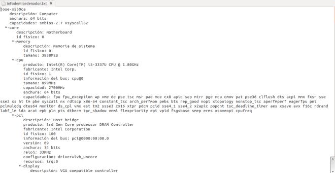 informacion pc terminal linux