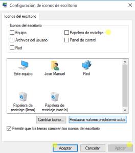 desactivar icono papelera