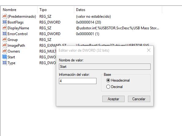 desactivar usb registro
