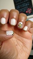 Black, yellow & white dotted manicure