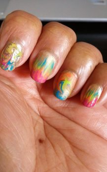 Dry marbling & waterfall manicure