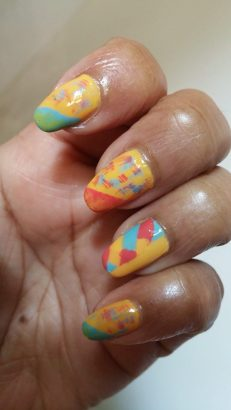 Yellow Dry Brushed Nails