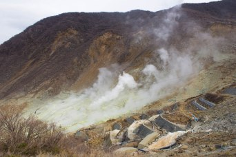 Sulfur volcanic fumes from Mount Owakudani. We pass this by during the Hakone Ropeway ride!