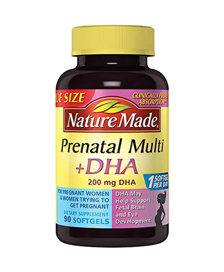 6. Nature Made PrenatalMulti + DHA 200 Mg