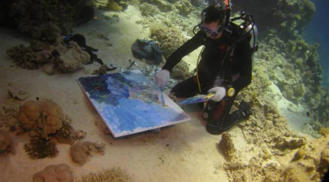 Guinness World Record Breaker Alexander Belozor Paints Underwater