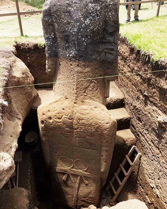 The Easter Island heads have detailed bodies