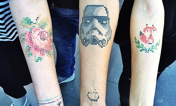 Striking Cross Stitch Tattoos By Eva Krbdk