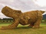 Giant Straw Dinosaurs Invade Japanese Fields