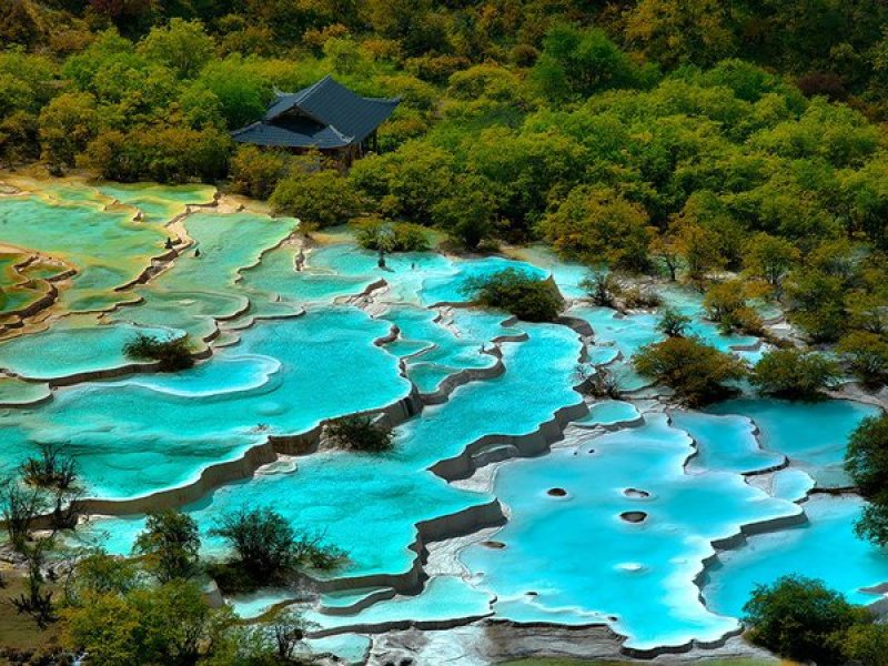 Turquoise pools in Huanglong