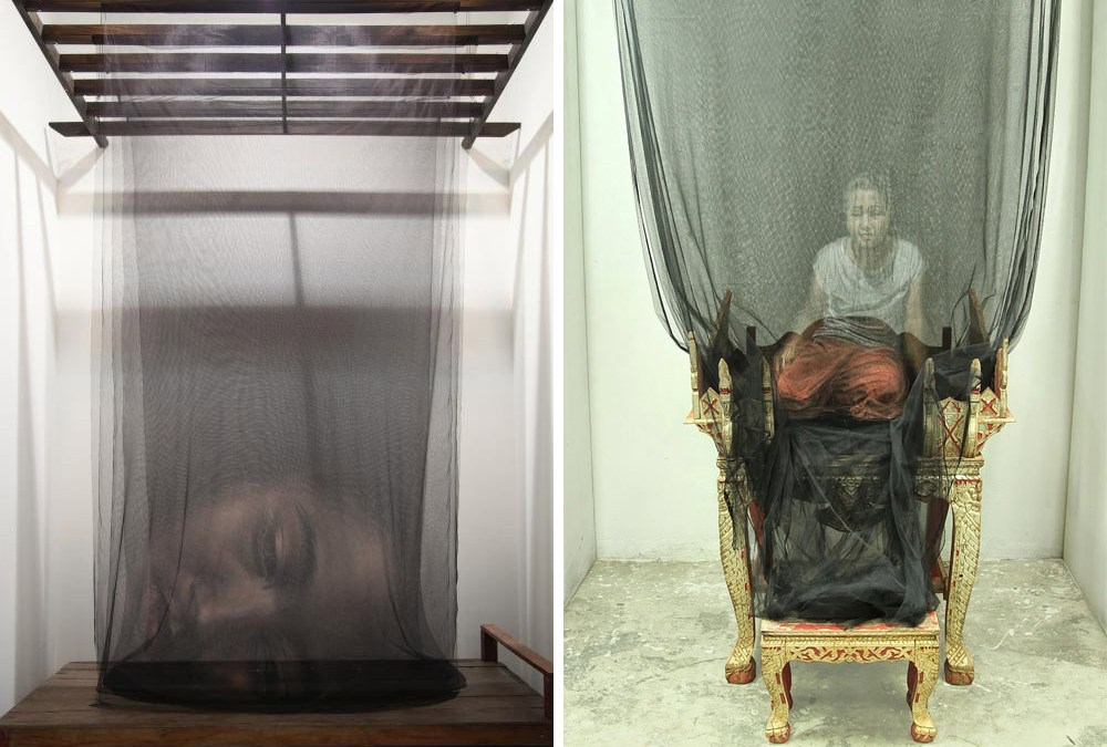 Thai Artist Creates Ghostly 3D Paintings on Layers of Fine Netting