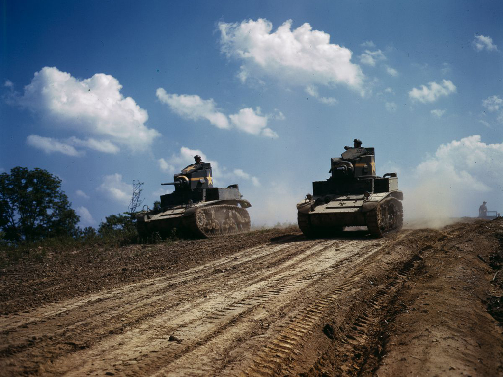Life at Fort Knox in 1942 - 13. Light tanks performing a joint maneuver.