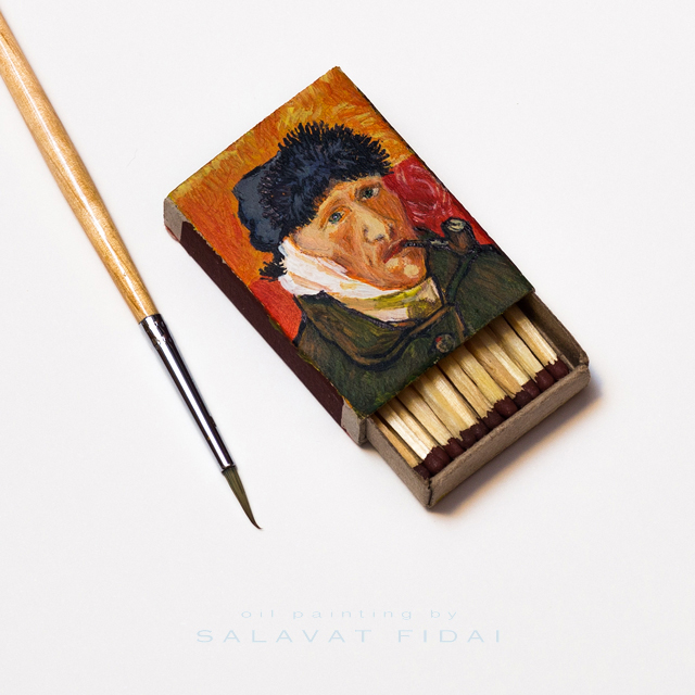 "Van Gogh Matchboxes - ""Self-Portrait with Bandaged Ear and Pipe"""