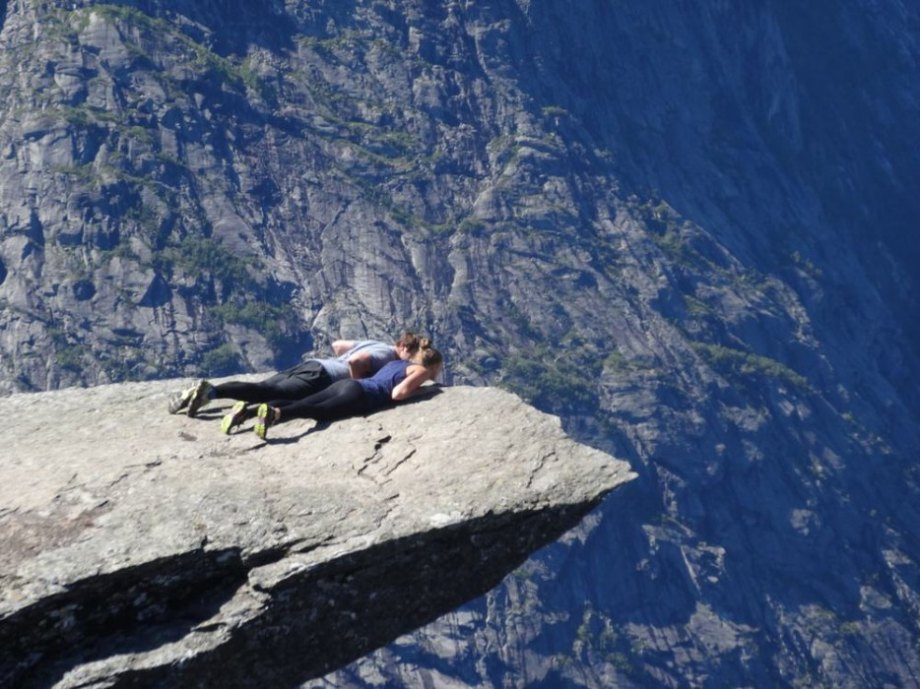 Trolltunga hovers 2,300 feet above lake Ringedalsvatnet. It's a challenging hike, but the natural platforms offer astounding views of the mountainside.