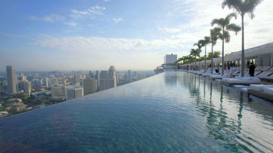 Atop 57 stories of this triple-skyscraper hotel is an infinity pool, which boasts the most spectacular view of the Singapore skyline.