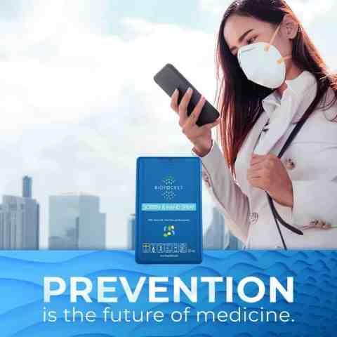 Beskyttelse mot bakterier alltid tilgjengelig i praktisk lommeformat, inneholder 225 spraydoser. 99,99% efektiv. Uten alkohol.