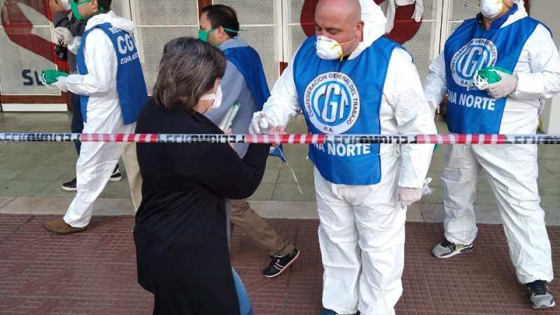 En el Día Mundial de la Salud , la CGT Zona Norte entregó Barbijos y Alcohol en Gel