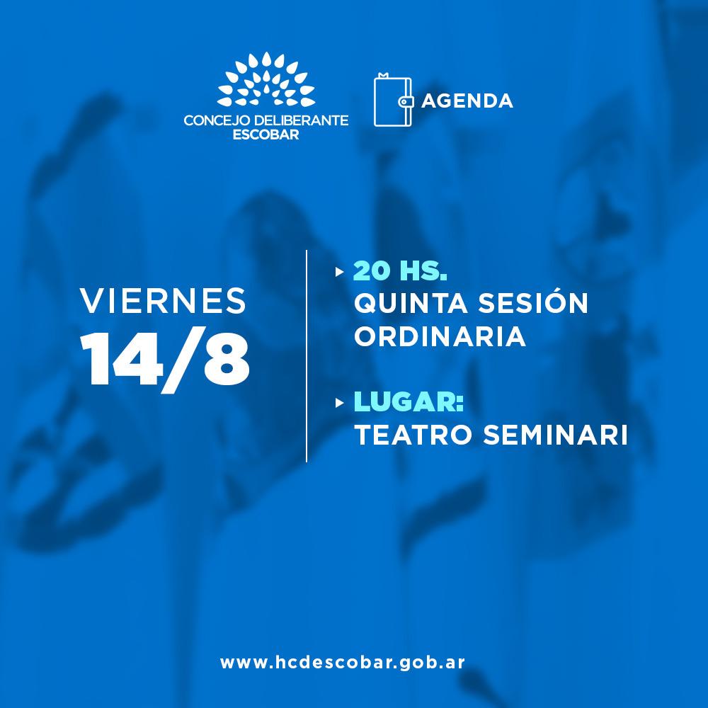El Concejo Deliberante de Escobar realizará su Quinta Sesión Ordinaria en el Teatro Seminari